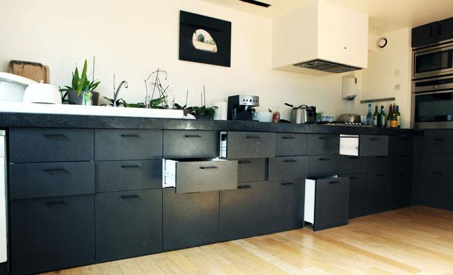 Woodmood meubles - Meuble de cuisine noir laque ...